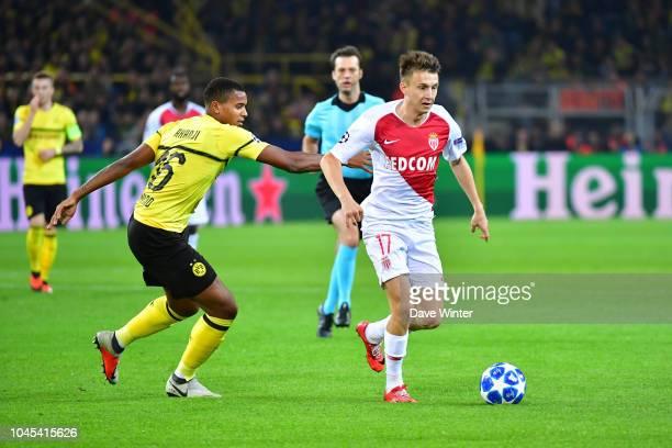 Aleksandr Golovin of Monaco and Manuel Akanji of Borussia Dortmund during the UEFA Champions League match between Borussia Dortmund and AS Monaco at...
