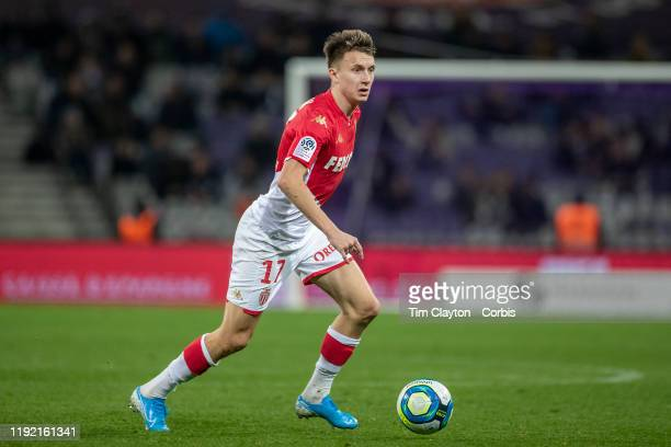 Aleksandr Golovin of Monaco in action during the Toulouse FC V AS Monaco French Ligue 1 regular season match at the Stadium Municipal de Toulouse on...