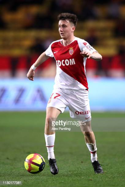 Aleksandr Golovin of Monaco runs with the ball during the Ligue 1 match between AS Monaco and FC Nantes at Stade Louis II on February 16 2019 in...