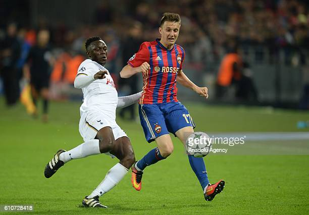 Aleksandr Golovin of PFC CSKA Moscow in action against Victor Wanyama of Tottenham Hotspurs during the UEFA Europa League group E soccer match...