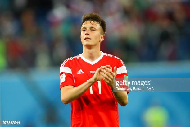 Aleksandr Golovin of Russia applauds at the end of during the 2018 FIFA World Cup Russia group A match between Russia and Egypt at Saint Petersburg...