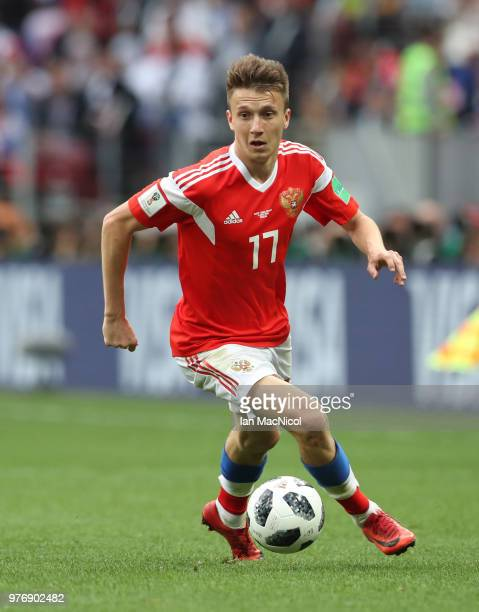 Aleksandr Golovin of Russia controls the ball during the 2018 FIFA World Cup Russia group A match between Russia and Saudi Arabia at Luzhniki Stadium...