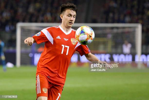 Aleksandr Golovin of Russia controls the ball during the 2020 UEFA European Championships group I qualifying match between Belgium and Russia at King...