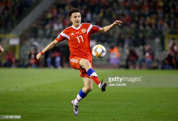 Aleksandr Golovin of Russia during the 2020 UEFA European Championships group I qualifying match between Belgium and Russia at King Baudouin Stadium...