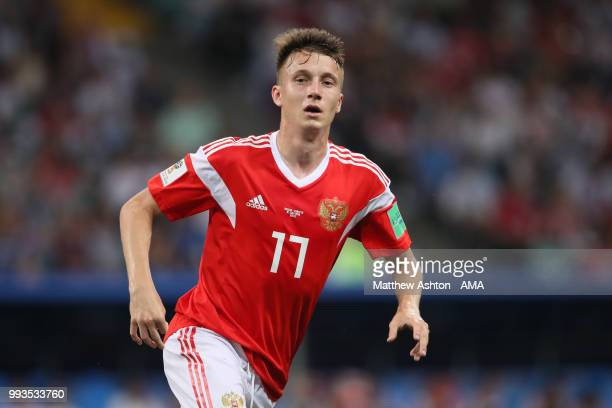 Aleksandr Golovin of Russia in action during the 2018 FIFA World Cup Russia Quarter Final match between Russia and Croatia at Fisht Stadium on July 7...