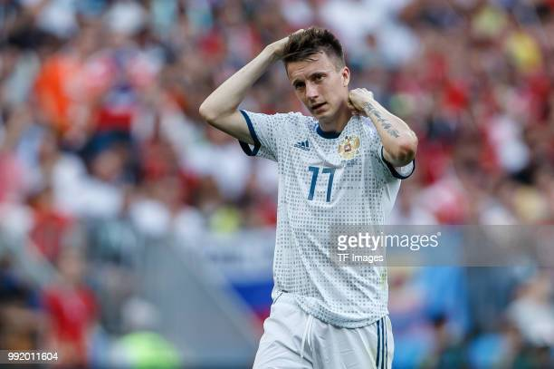 Aleksandr Golovin of Russia looks on during the 2018 FIFA World Cup Russia match between Spain and Russia at Luzhniki Stadium on July 01 2018 in...
