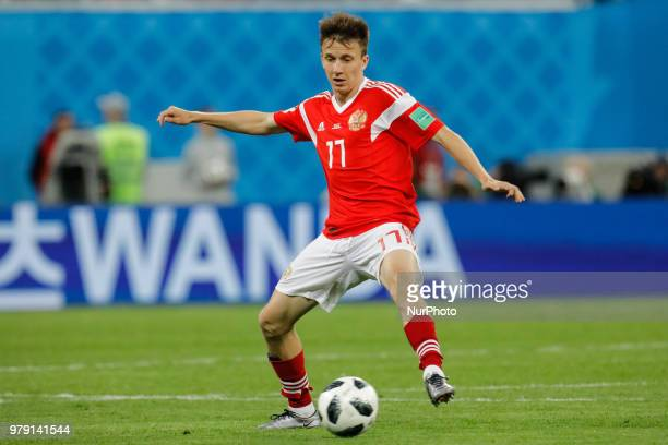 Aleksandr Golovin of Russia national team during the 2018 FIFA World Cup Russia group A match between Russia and Egypt on June 19 2018 at Saint...