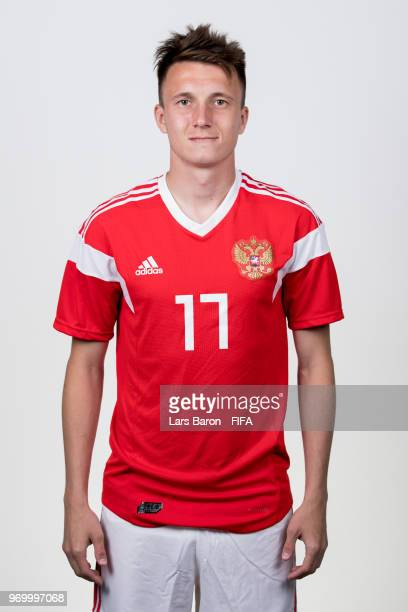 Aleksandr Golovin of Russia poses for a portrait during the official FIFA World Cup 2018 portrait session at Federal Sports Centre Novogorsk on June...