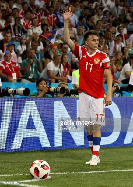 Aleksandr Golovin of Russia prepares to take a corner during the 2018 FIFA World Cup Russia Quarter Final match between Russia and Croatia at Fisht...