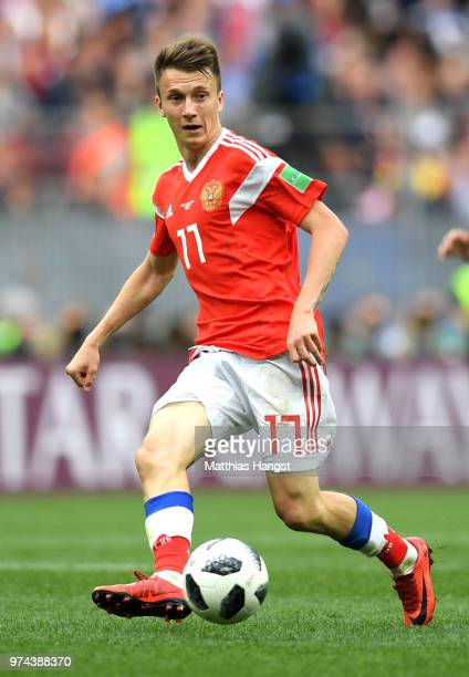 Aleksandr Golovin of Russia runs with the ball during the 2018 FIFA World Cup Russia Group A match between Russia and Saudi Arabia at Luzhniki...