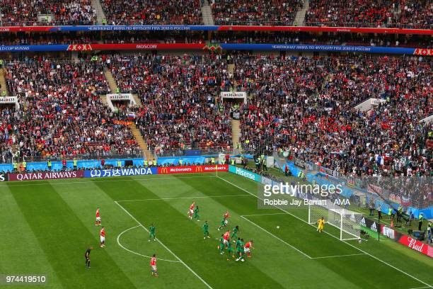 Aleksandr Golovin of Russia scores a goal to make it 50 during the 2018 FIFA World Cup Russia group A match between Russia and Saudi Arabia at...