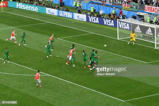 Aleksandr Golovin of Russia scores his team's fifth goal during the 2018 FIFA World Cup Russia Group A match between Russia and Saudi Arabia at...
