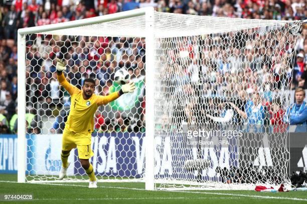 Aleksandr Golovin of Russia scores his team's fifth goal past Abdullah Al Muaiouf of Saudi Arabia during the 2018 FIFA World Cup Russia Group A match...