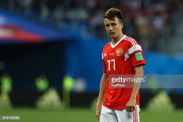 Aleksandr Golovin of the Russia national football team reacts during the 2018 FIFA World Cup match first stage Group A between Russia and Egypt at...