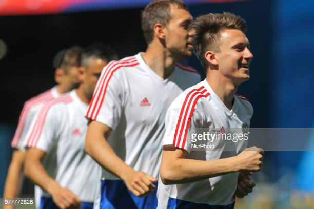 Aleksandr Golovin of the Russia national football team takes part in a training session at Saint Petersburg Stadium in Saint Petersburg on June 18...