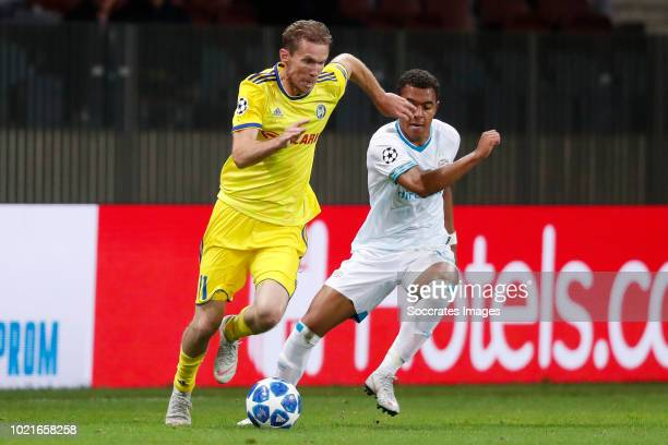 Aleksandr Hleb of Bate Borisov Donyell Malen of PSV during the UEFA Champions League match between Bate Borisov v PSV at the Borisov Arena on August...