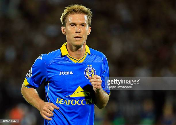 BELGRADE SERBIA AUGUST 26 Aleksandr Hleb of BATE in action during the UEFA Champions League Qualifying Round Play Off Second Leg match between...