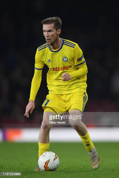 Aleksandr Hleb of BATE in action during the UEFA Europa League Round of 32 Second Leg match between Arsenal and BATE Borisov at Emirates Stadium on...