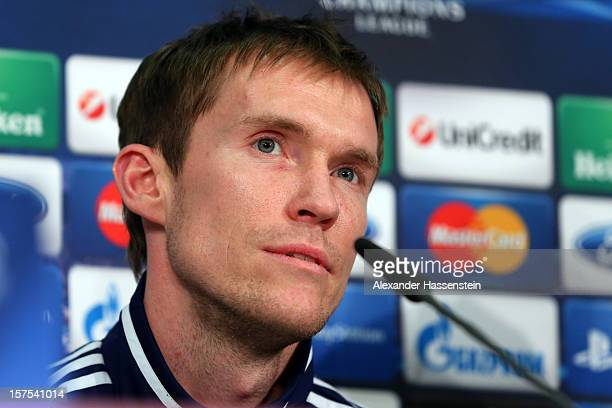 Aleksandr Hleb of Borisiv looks on during a Bate Borisov press conference ahead of their UEFA Champions League group F match against FC Bayern...