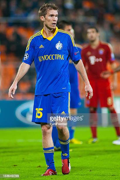 Aleksandr Hleb of FC BATE Borisov in action during the UEFA Champions League group stage match between FC Bayern Muenchen and FC BATE Borisov at the...