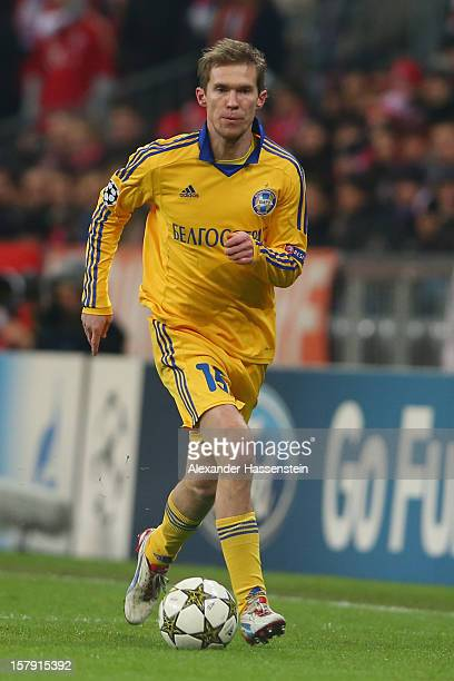 Aleksandr Hleb of FC BATE Borisov in action during the UEFA Champions League Group F match between FC Bayern Muenchen and FC BATE Borisov at Allianz...
