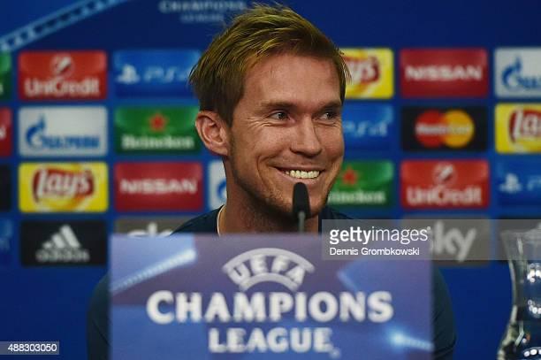 Aleksandr Hleb of FC BATE Borisov reacts during a press conference at BayArena on September 15 2015 in Leverkusen Germany