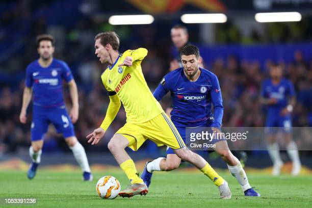 Aleksandr Hleb of FC BATE is closed down by Mateo Kovacic of ChelMateo Kovacic of Chelseaduring the UEFA Europa League Group L match between Chelsea...