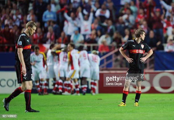 Aleksandr Hleb of VfB Stuttgart reacts after Sevilla scored their first goal during the UEFA Champions League Group G match between Sevilla and VfB...