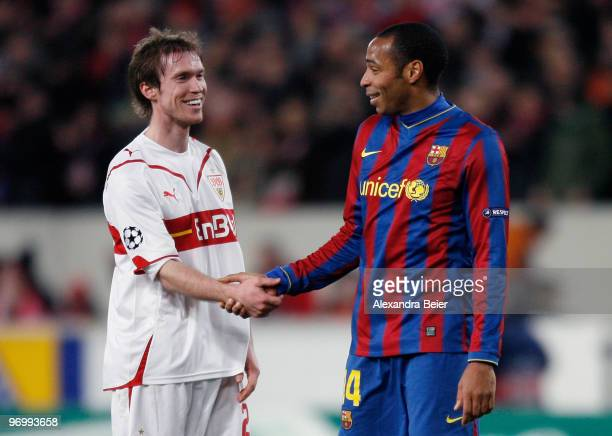 Aleksandr Hleb of VfB Stuttgart shakes hands with Thierry Henry of FC Barcelona during the UEFA Champions League round of sixteen first leg match...