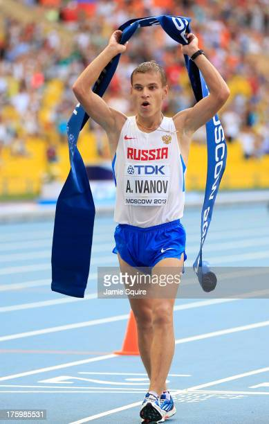 Aleksandr Ivanov of Russia wins gold n the Men's 20km Race Walk final during Day Two of the 14th IAAF World Athletics Championships Moscow 2013 at...