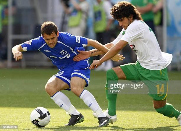 Aleksandr Kerzhakov of FC Dynamo Moscow battles for the ball with Anri Khagush of FC Kuban Krasnodar during the Russian Football League Championship...