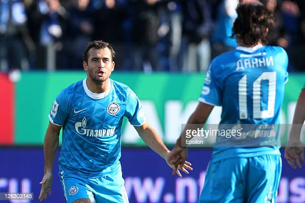 Aleksandr Kerzhakov of FC Zenit St Petersburg celebrate after scoring a goal with Danny during the Russian Premier League match between FC Zenit St...