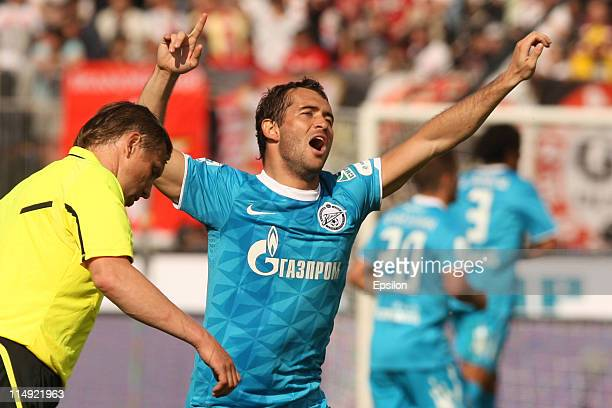 Aleksandr Kerzhakov of FC Zenit St. Petersburg celebrates after scoring a goal during the Russian Premier League match between FC Zenit St Petersburg...