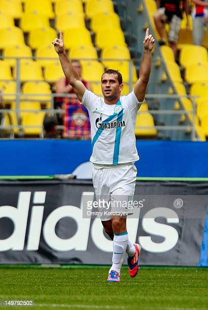 Aleksandr Kerzhakov of FC Zenit St Petersburg celebrates after scoring a goal during the Russian Premier League match between PFC CSKA Moscow and FC...