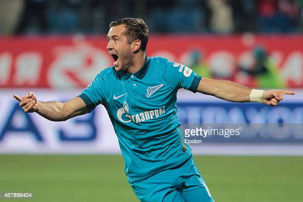 Aleksandr Kerzhakov of FC Zenit St Petersburg celebrates his goal during the Russian Football League Championship match between FC Zenit St...