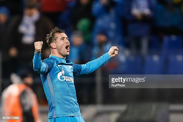 Aleksandr Kerzhakov of FC Zenit St Petersburg celebrates his goal during the UEFA Europa League Group D football match between FC Zenit St Petersburg...