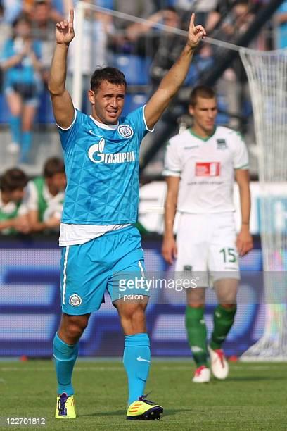 Aleksandr Kerzhakov of FC Zenit St Petersburg celebrates scoring a goal during the Russian Football League Championship match between FC Zenit St...