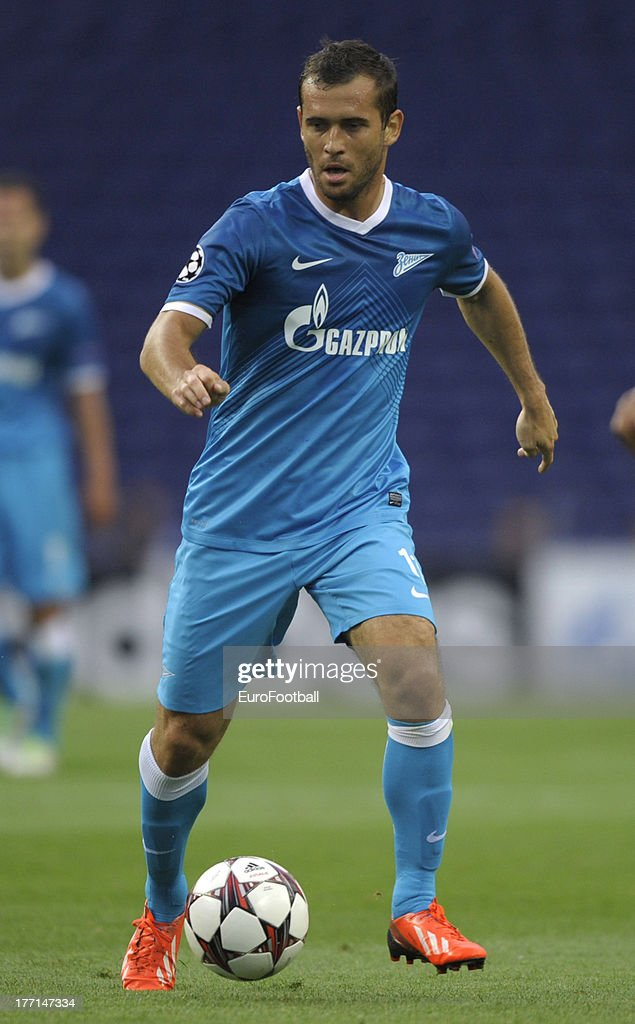 Aleksandr Kerzhakov of FC Zenit St Petersburg in action during the UEFA Champions League play-off first leg match between FC Pacos de Ferreira and FC Zenit St Petersburg held on August 20, 2013 at the Estadio do Dragao, in Porto, Portugal.