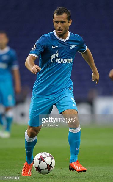 Aleksandr Kerzhakov of FC Zenit St Petersburg in action during the UEFA Champions League playoff first leg match between FC Pacos de Ferreira and FC...