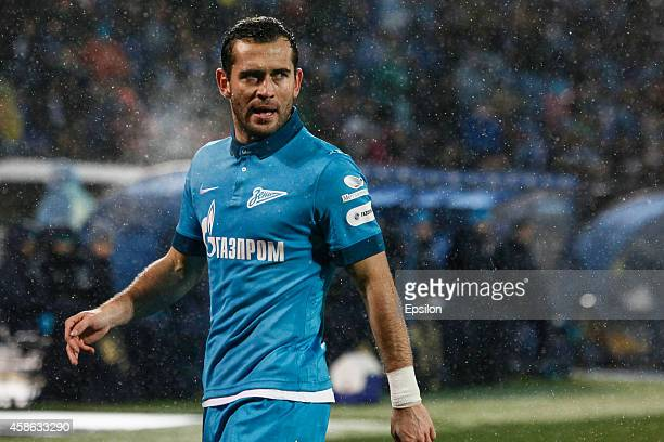 Aleksandr Kerzhakov of FC Zenit St Petersburg reacts during the Russian Football League Championship match between FC Zenit St Petersburg and FC...