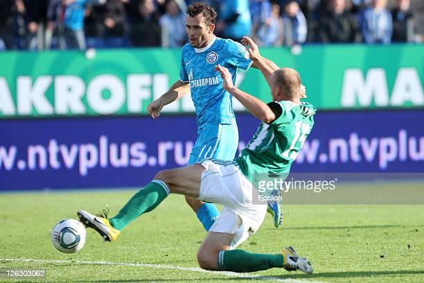 Aleksandr Kerzhakov of FC Zenit St. Petersburg scores a goal during the Russian Premier League match between FC Zenit St. Petersburg and FC Tom Tomsk...