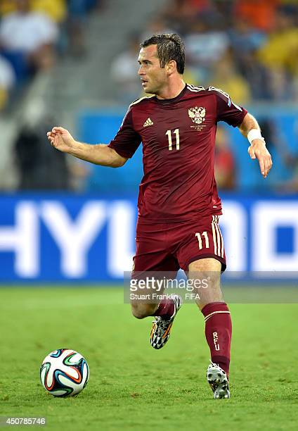 Aleksandr Kerzhakov of Russia in action during the 2014 FIFA World Cup Brazil Group H match between Russia and Korea Republic at Arena Pantanal on...