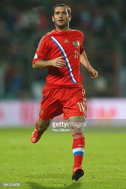 Aleksandr Kerzhakov of Russia in action during the FIFA 2014 World Cup Qualifier Group F match between Luxembourg and Russia at the Josy Barthel...