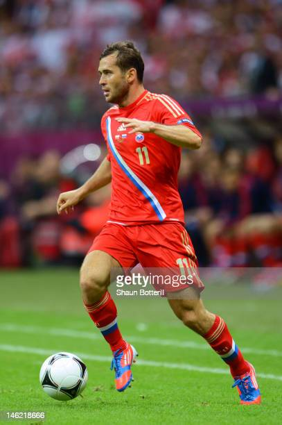 Aleksandr Kerzhakov of Russia in action during the UEFA EURO 2012 group A match between Poland and Russia at The National Stadium on June 12 2012 in...