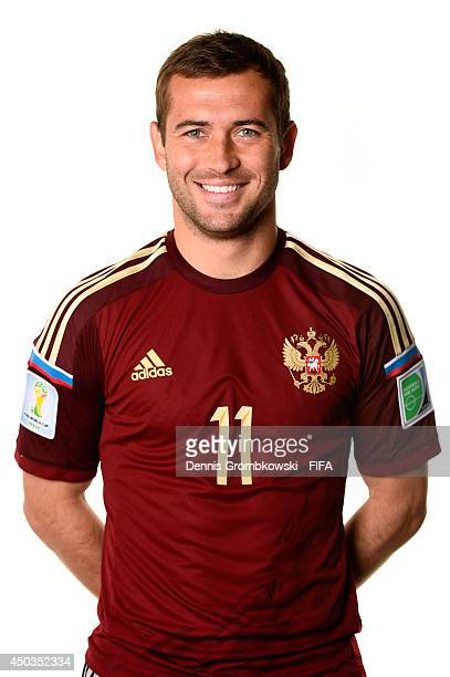 Aleksandr Kerzhakov of Russia poses during the Official FIFA World Cup 2014 portrait session on June 9 2014 in Sao Paulo Brazil