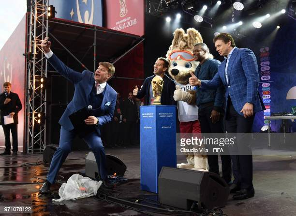 Aleksandr Kerzhakov the Official Mascotte Zabivaka and Marcel Desailly pose for a photo during the official opening of the FIFA Fan Fest at Vorobyovy...