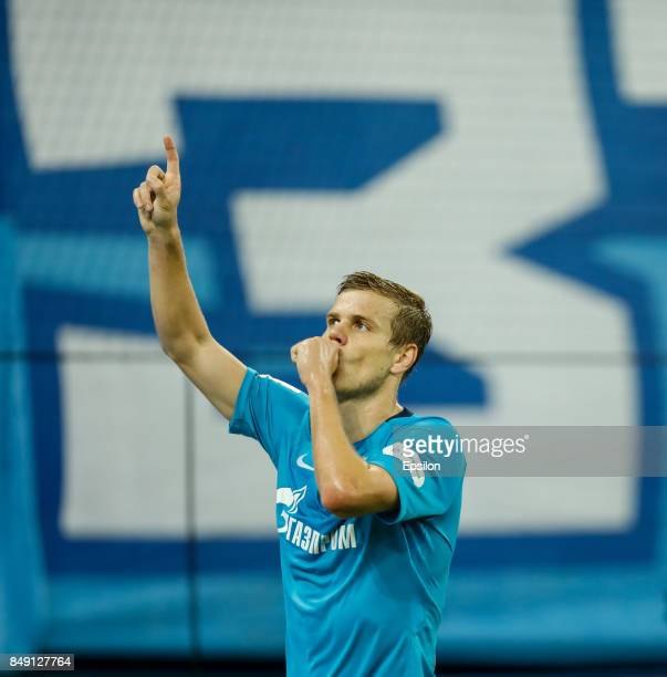 Aleksandr Kokorin of FC Zenit Saint Petersburg celebrates his goal during the Russian Football League match between FC Zenit St Petersburg and FC Ufa...