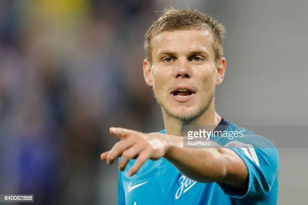 Aleksandr Kokorin of FC Zenit Saint Petersburg gestures during the Russian Football League match between FC Zenit St Petersburg and FC Rostov at...