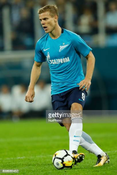 Aleksandr Kokorin of FC Zenit Saint Petersburg in action during the UEFA Europa League playoff round second leg match between FC Zenit St Petersburg...