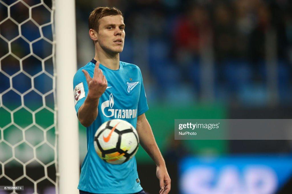Aleksandr Kokorin of FC Zenit Saint Petersburg reacts during the Russian Football League match between FC Zenit Saint Petersburg and FC Tosno at Saint Petersburg Stadium on November 19, 2017 in St. Petersburg, Russia.